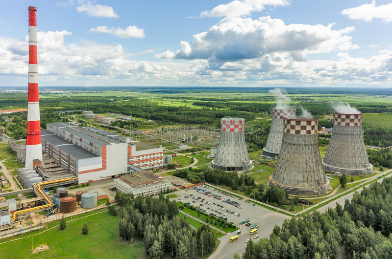 Stadsenergie en Warme Machtsfabriek op gas Tyumen stock afbeeldingen