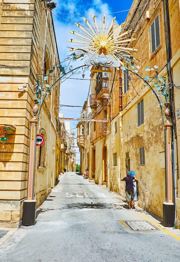 Stadsfestmåltidgarneringen i Rabat, Malta fotografering för bildbyråer