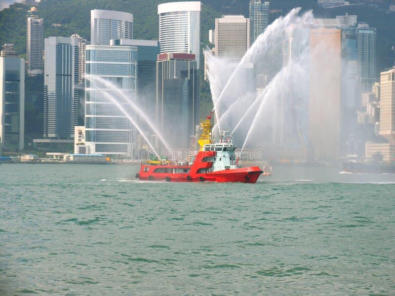 stadsfireboat Hong Kong arkivbild