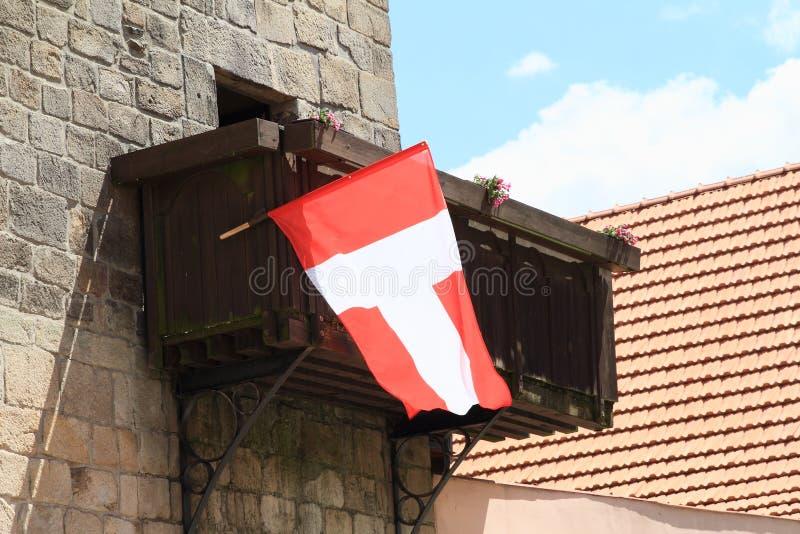 Stadsflagga av Telc arkivbild