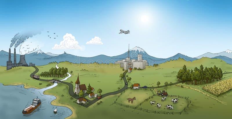 stadsflodtillstånd royaltyfri illustrationer
