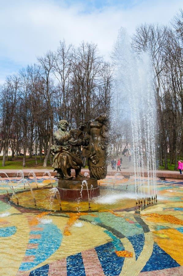 Stadsfontein van Sadko en Prinses Volkhova - helden van oude Novgorod-legenden, Veliky Novgorod, Rusland stock afbeeldingen