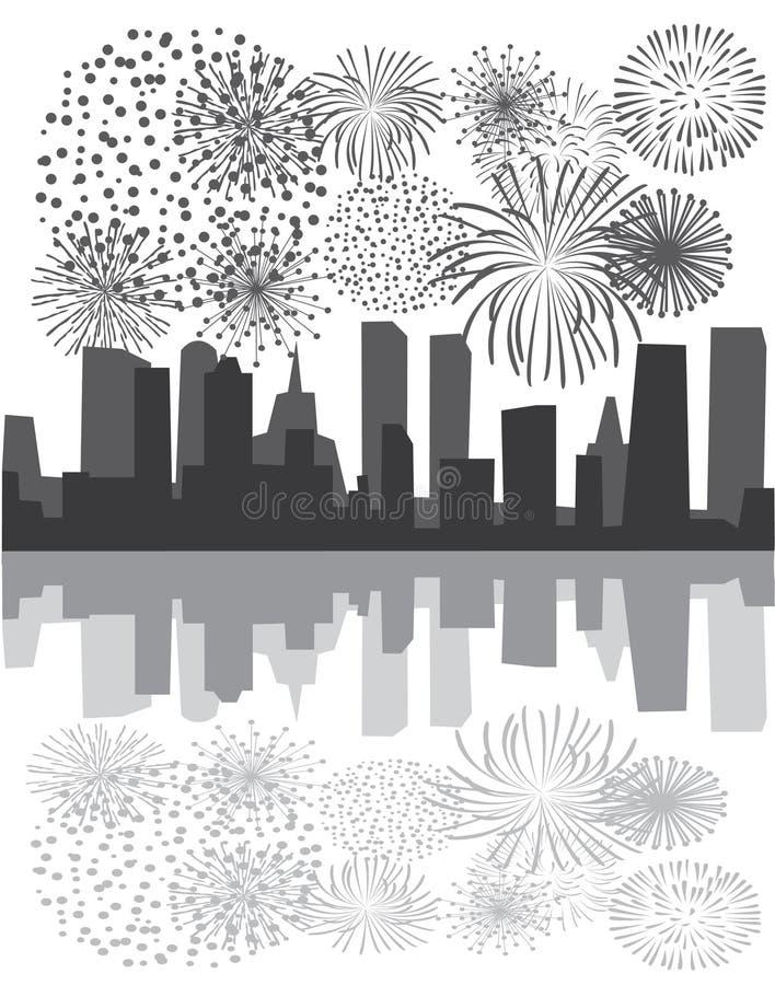stadsfyrverkerier över stock illustrationer