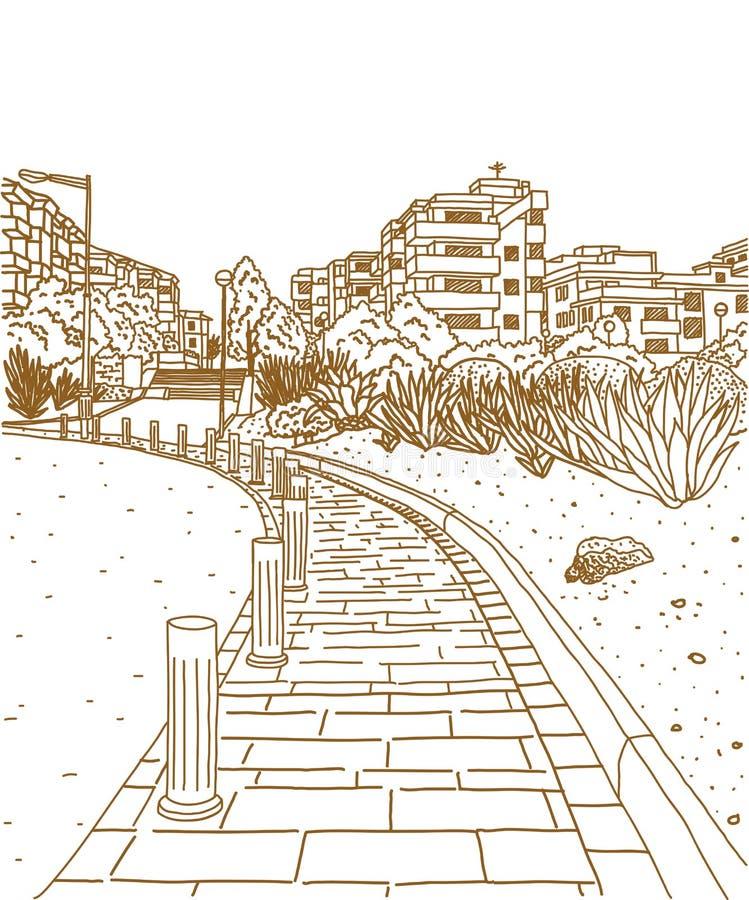 stadsgata stock illustrationer