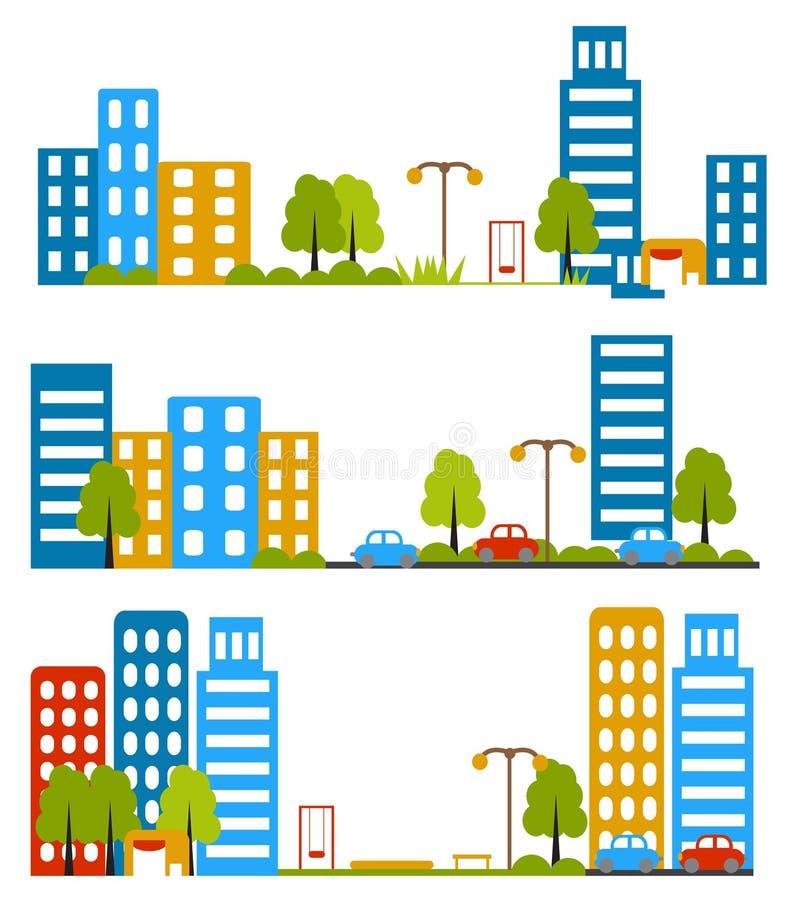 Stadsgata, lägenhetdesign, hus, grannskap också vektor för coreldrawillustration royaltyfri illustrationer
