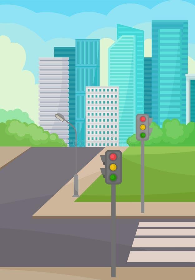 Stadsgata med vägen, övergångsställe och trafikljus, höghus på bakgrund stads- liggande Plan vektor vektor illustrationer