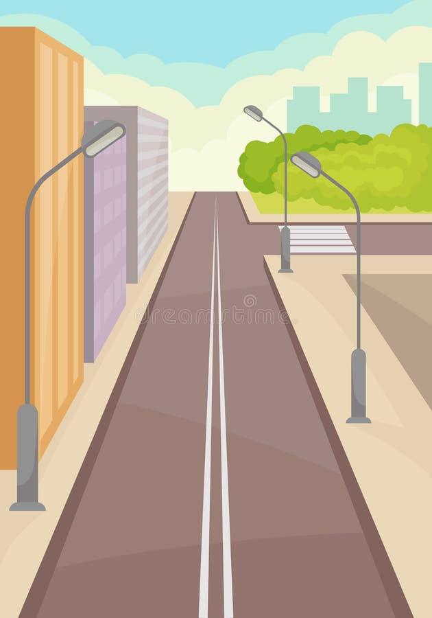 Stadsgata med vägen, höghus, lyktstolpar och övergångsställe modern town stads- liggande Plan vektordesign royaltyfri illustrationer