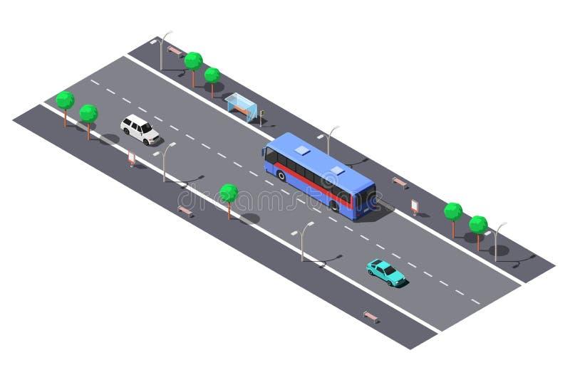 Stadsgata med vägen och hållplatsen för 2 gränd Isometrisk illustration för vektor stock illustrationer
