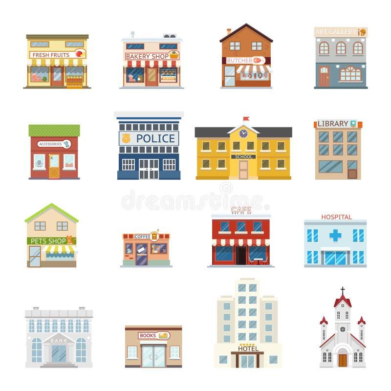 Stadsgatabyggnad shoppar fastighetarkitekturuppsättningen som framlänges isoleras, planlägger vektorillustrationen royaltyfri illustrationer