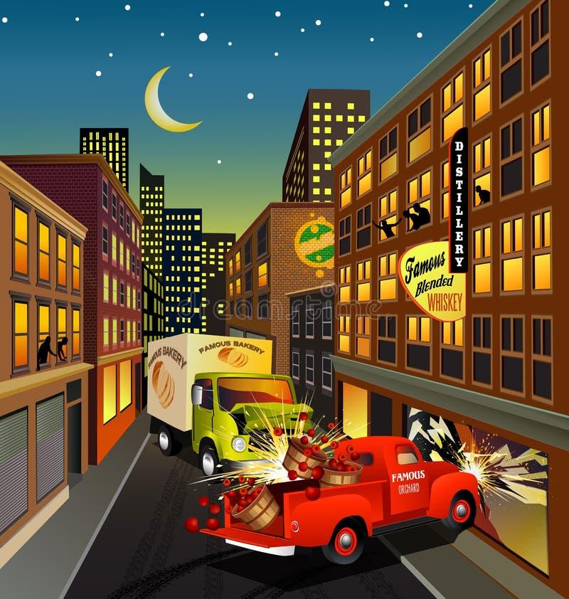 Stadsgataplats med att krascha för lastbilar stock illustrationer