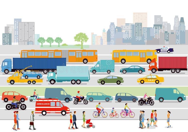 Stadsgator med trafik och gångare royaltyfri illustrationer