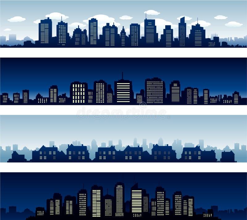 Stadsgebouwen bij dag en nacht stock illustratie