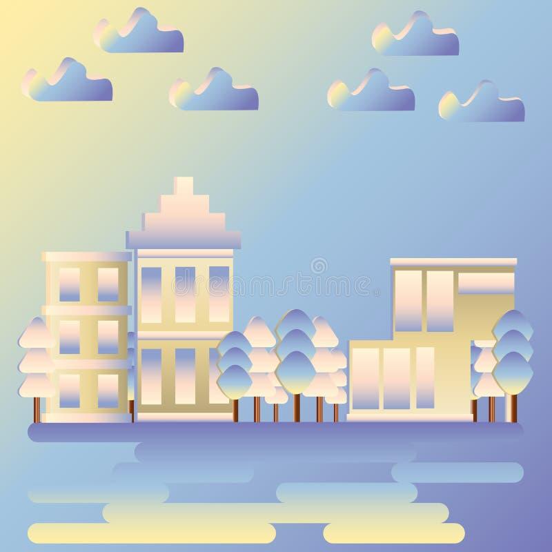 Stadsgebouwen in een zachte blauwe nevel Bedrijfsdistrict van de stad in vlakke stijl royalty-vrije illustratie