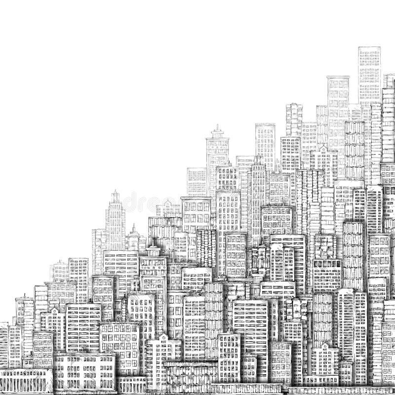 Stadsgränsmärkebakgrund illustratören för illustrationen för handen för borstekol gör teckningen tecknade som look pastell till t royaltyfri illustrationer
