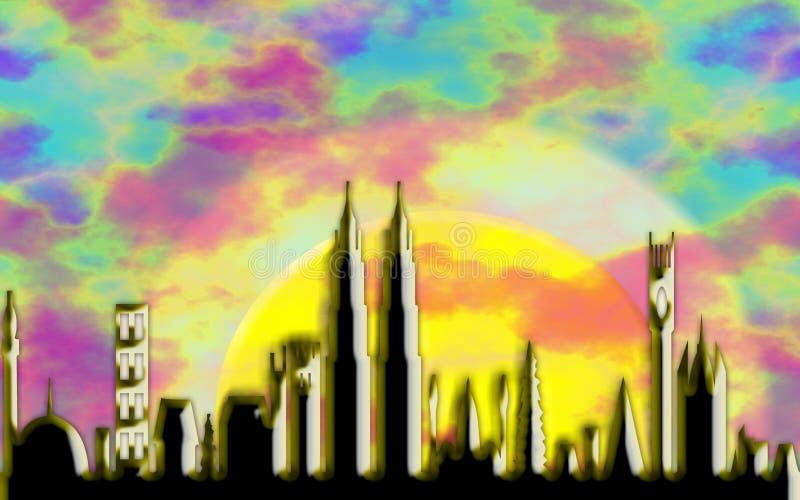 stadsgryning vektor illustrationer
