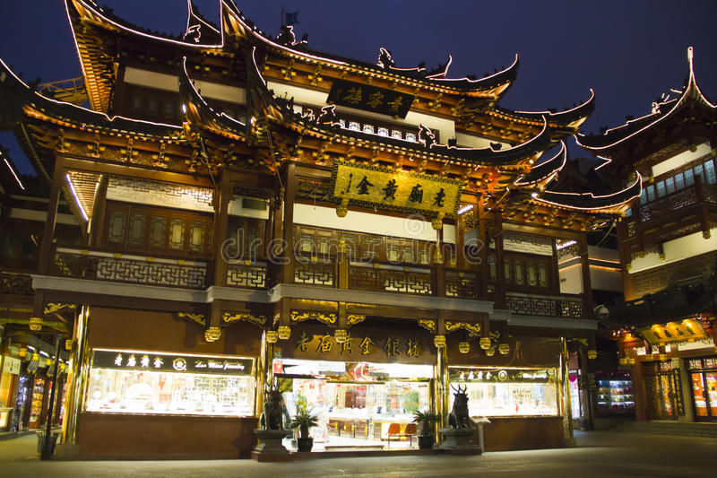 stadsguden shanghai shoppar tempelet arkivbild