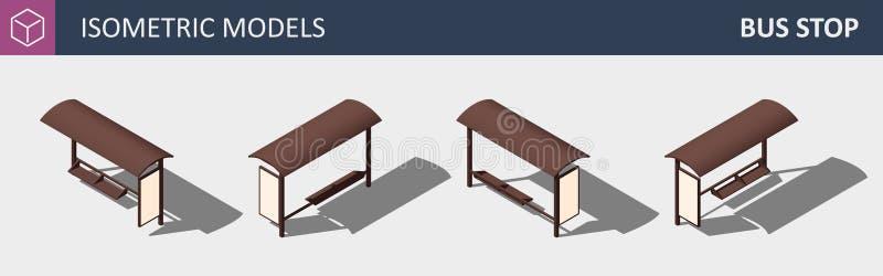 Stadshållplats - begrepp för lägenhet 3D för vektor isometriskt stock illustrationer