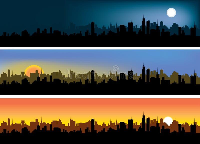 Stadshimmel vektor illustrationer