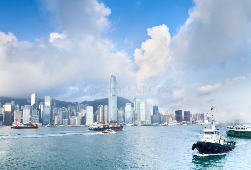 stadsHong Kong port royaltyfri foto