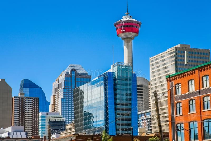 Stadshorisont av Calgary Kanada royaltyfri bild