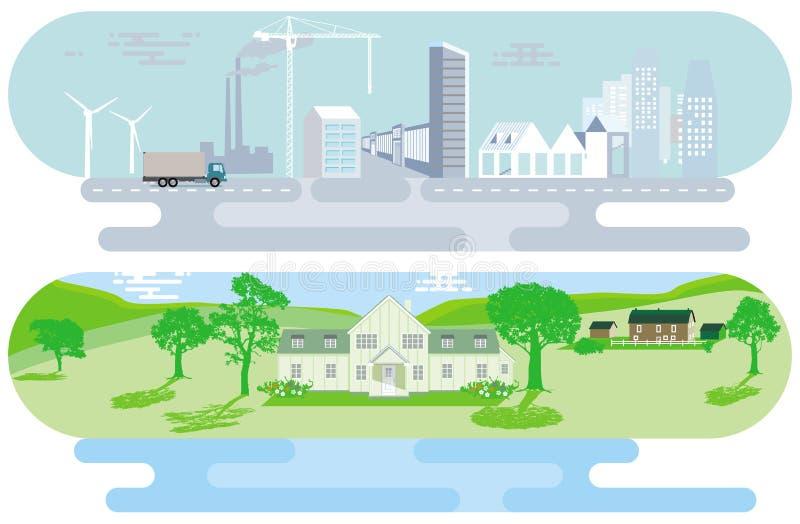 Stadshorisont och lantligt landskap stock illustrationer