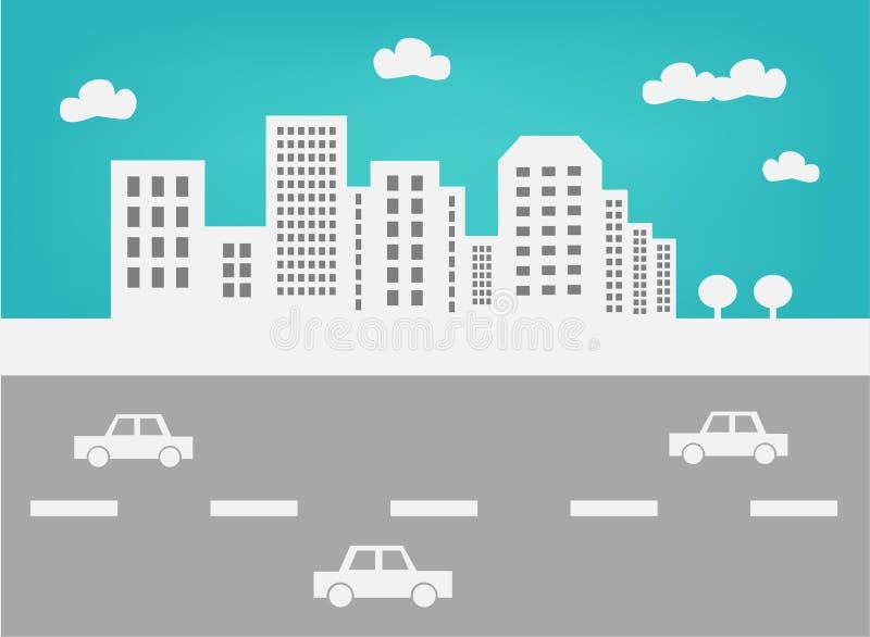 Stadshorisont och trafik stock illustrationer