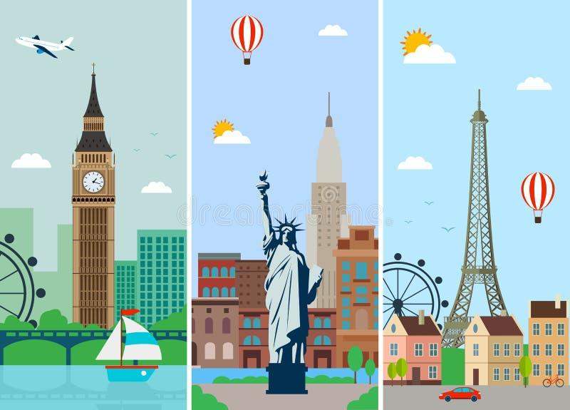 Stadshorisontdesign med gränsmärken London, Paris och New York stadshorisonter planlägger med gränsmärken vektor vektor illustrationer