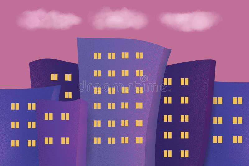 Stadshorisontillustration Kontur av det i stadens centrum och stads- landskapet royaltyfri illustrationer