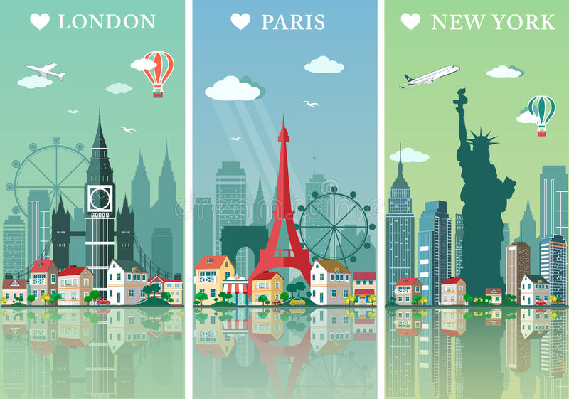 Stadshorisontuppsättning Lägenheten landskap vektorillustrationen London, Paris och New York stadshorisonter planlägger med gräns stock illustrationer