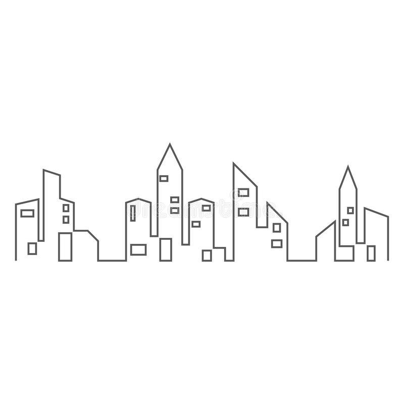Stadshorizon, de vectorillustratie van het stadssilhouet stock illustratie