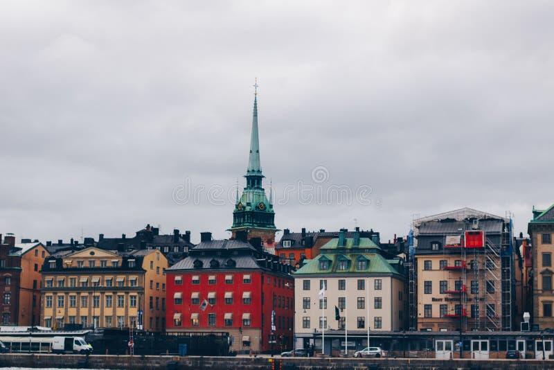 Stadshorizon in Stockholm Zweden royalty-vrije stock afbeelding