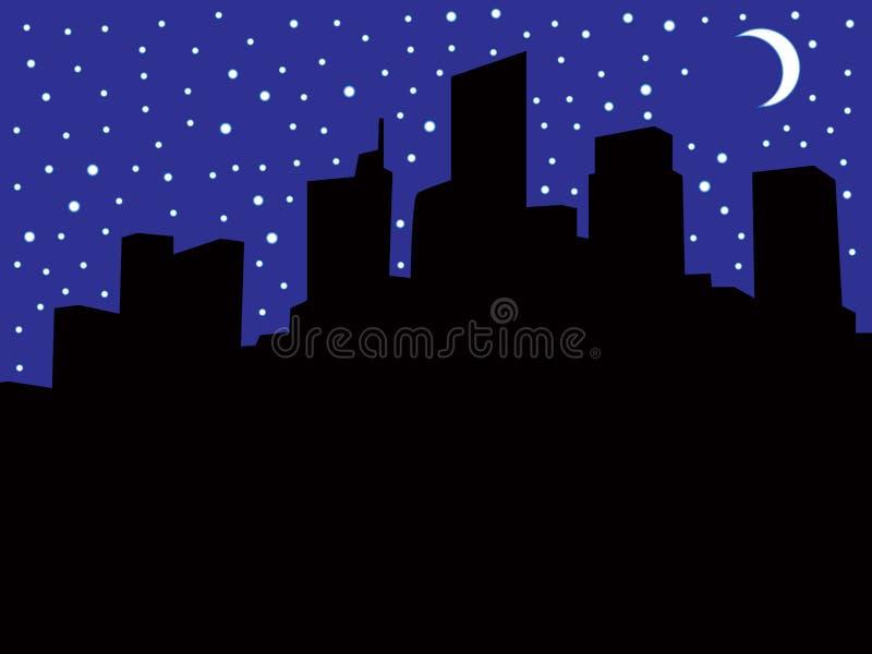 Stadshorizon tijdens Elektriciteitspanne royalty-vrije illustratie