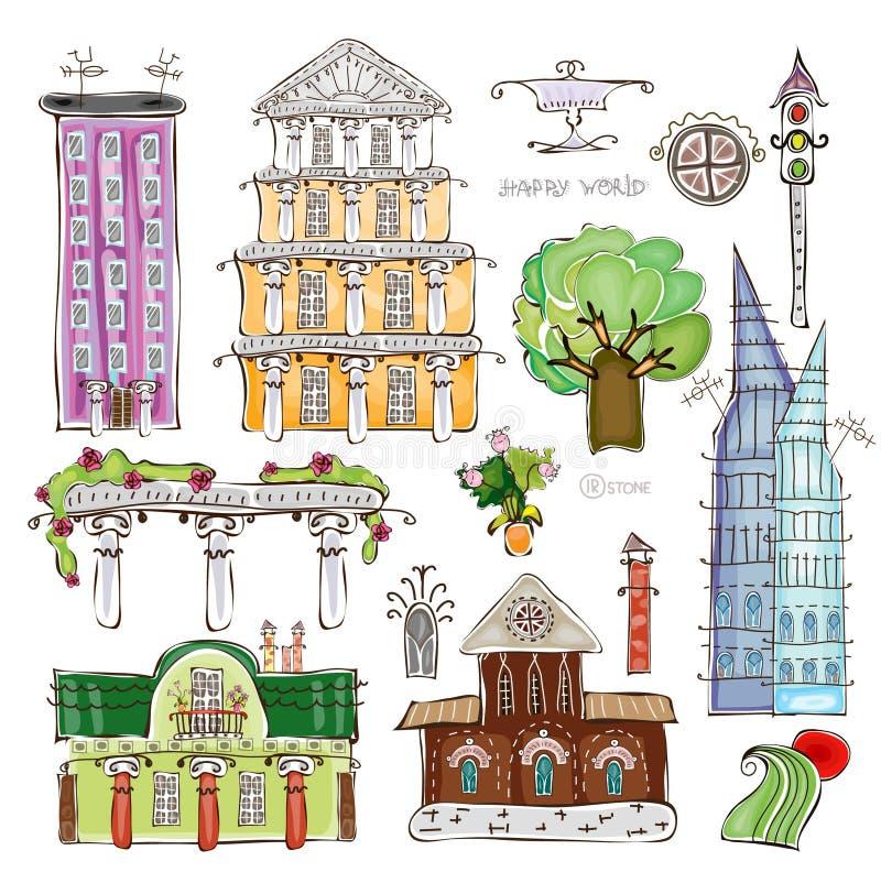 Stadshuizen en vastgestelde Gelukkige de wereldinzameling van het straat desing element royalty-vrije illustratie