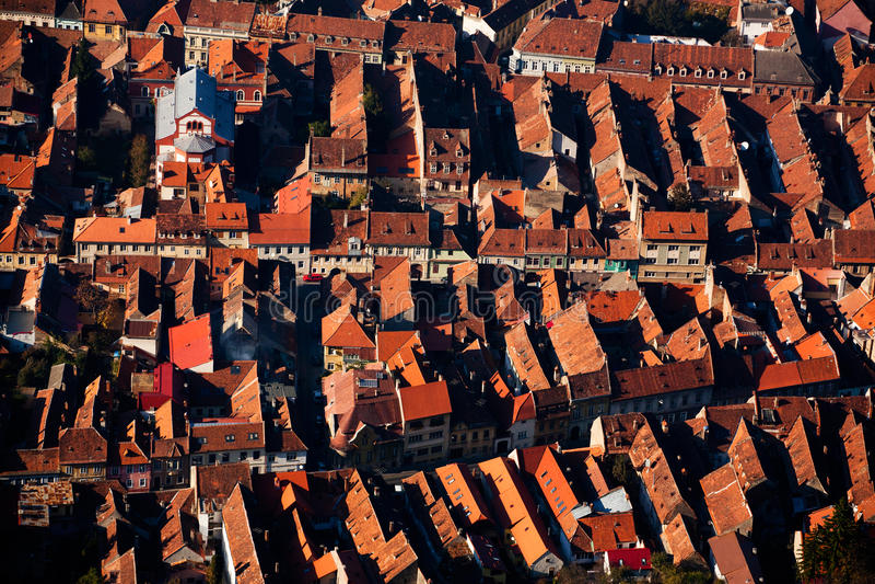 Stadshuizen van hierboven royalty-vrije stock afbeelding