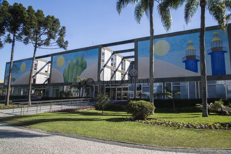 Stadshus av Curitiba cityscape, Parana stat, Brasilien Juli 201 arkivbild