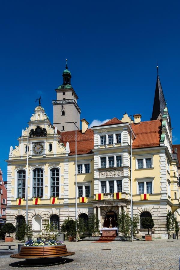 Stadshus av den Ingolstadt Bayern Tyskland arkivbild