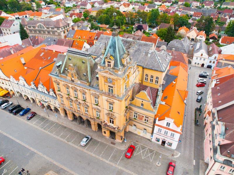 Stadshus av Domazlice fotografering för bildbyråer