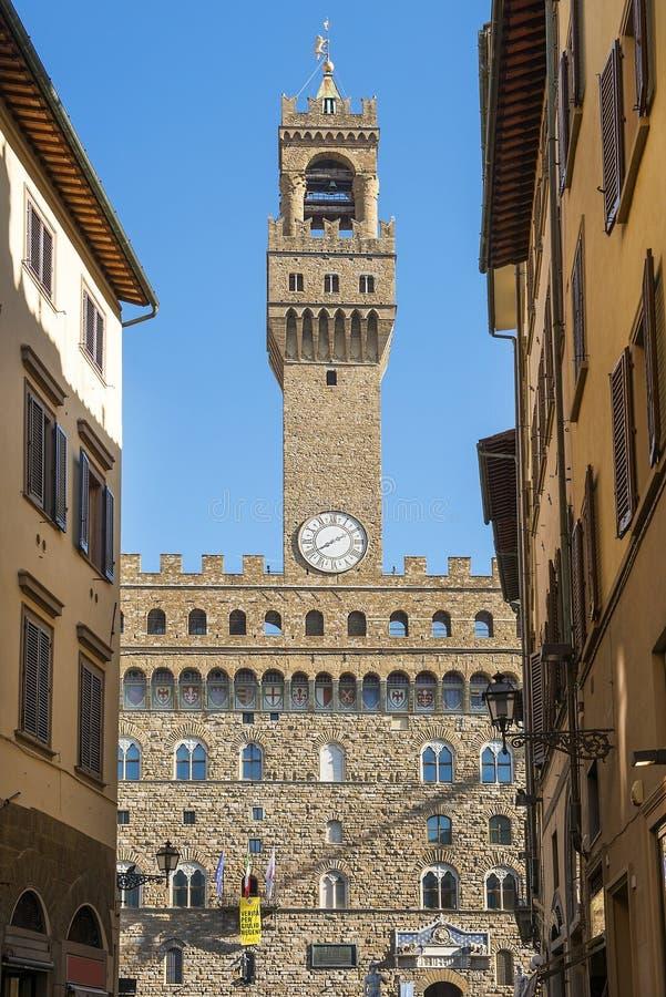 Stadshus av Florence, Palazzo Vecchio i Florence, Tuscany, Italien royaltyfri bild