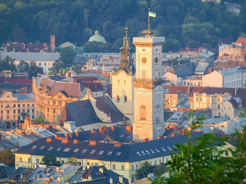 Stadshus av staden Lviv, Ukraina arkivfoton