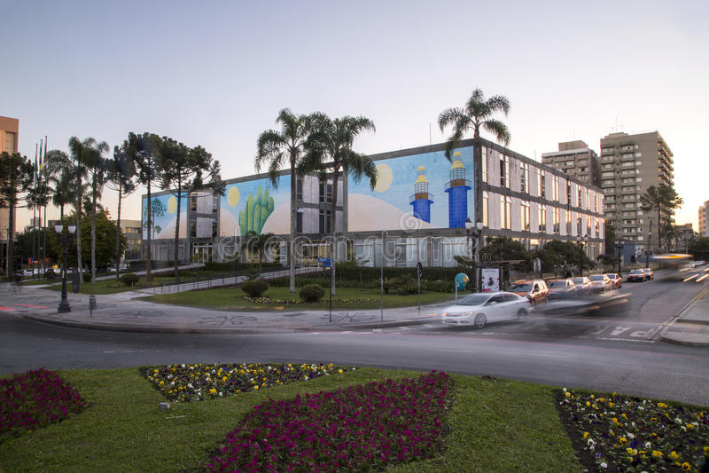 Stadshus för flyg- sikt av Curitiba cityscape, Parana stat, Brazi Juli 2017 royaltyfri bild