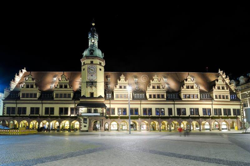 stadshus gammala leipzig royaltyfri bild