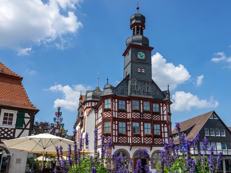 Stadshus i den historiska mitten av Lorsch en der Bergstraße, Hessen, Tyskland arkivbild