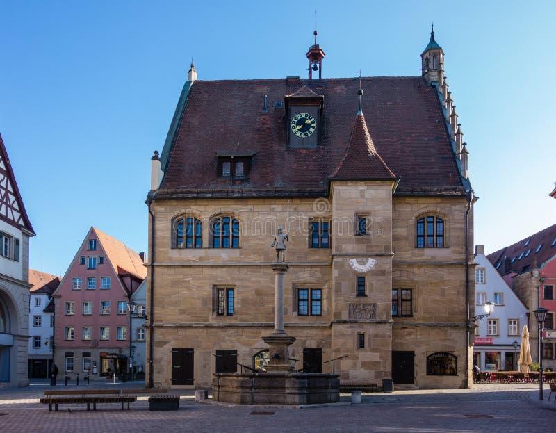 Stadshus i den Weissenburg Bayern Tyskland royaltyfria bilder