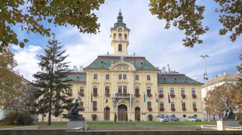 Stadshus i Szeged, Ungern. royaltyfria foton