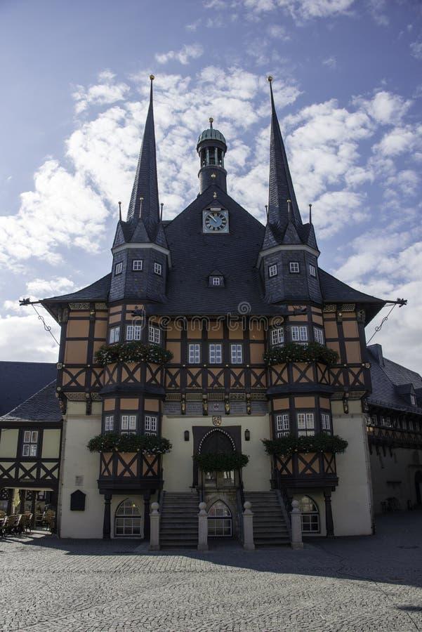 Stadshus i Wernigerode, Tyskland arkivbilder