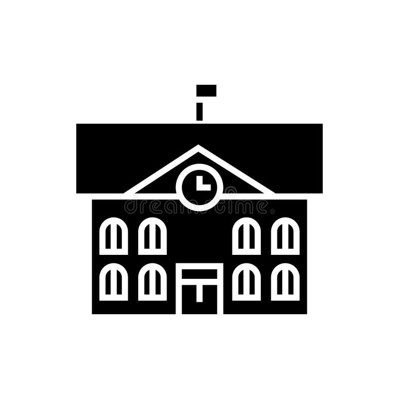 Stadshus - stadshussymbol, vektorillustration, svart tecken på isolerad bakgrund stock illustrationer
