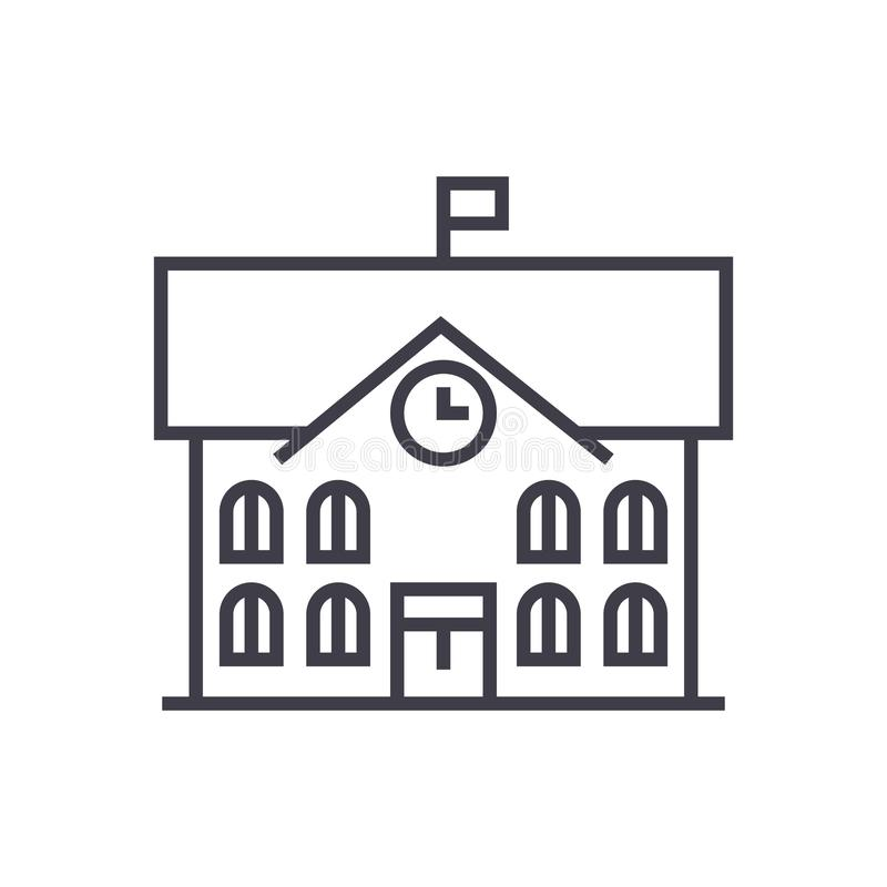 Stadshus stadshusvektorlinje symbol, tecken, illustration på bakgrund, redigerbara slaglängder stock illustrationer