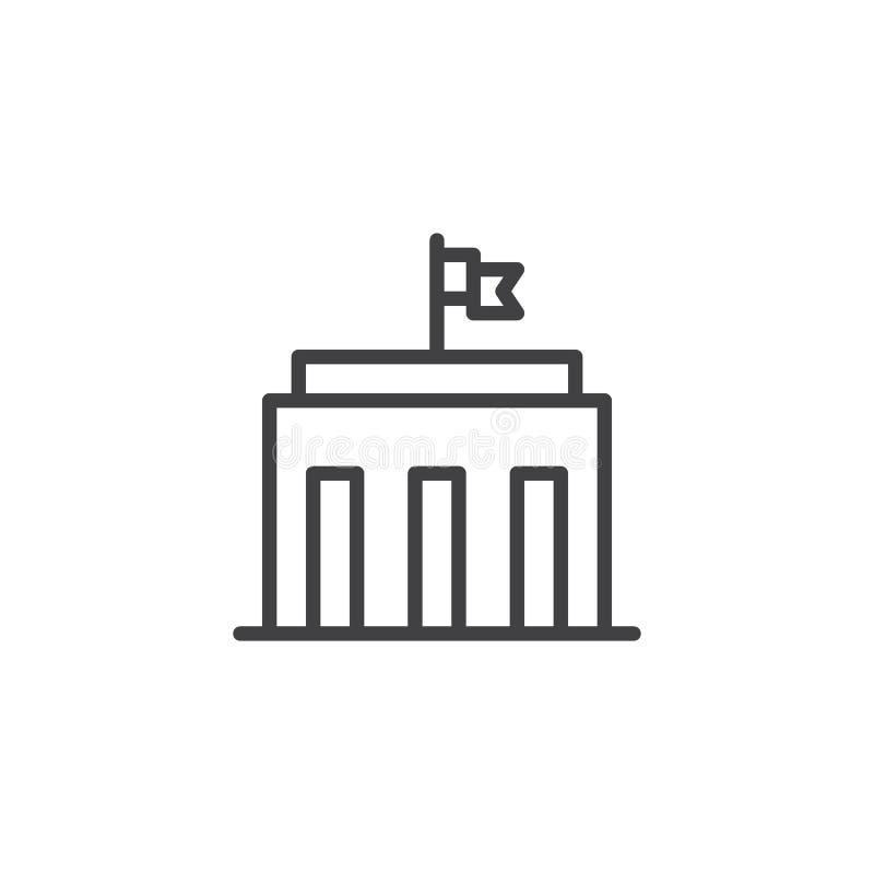 Stadshusbyggnadslinje symbol royaltyfri illustrationer
