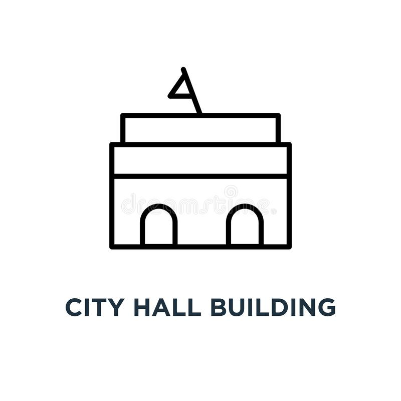 Stadshusbyggnadssymbol Linjär enkel beståndsdelillustration lock stock illustrationer