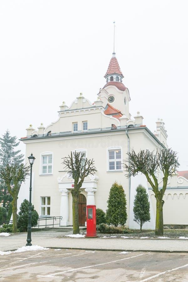 Stadshuset i Dzialdowo, Polen, 12 marscherar 2015 arkivfoton